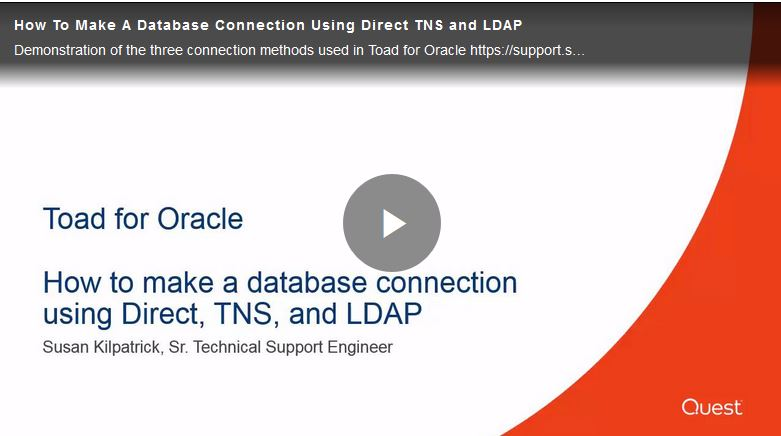 Watch How to make a database connection using Direct, TNS and LDAP.