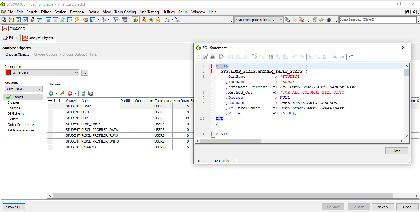 Toad for Oracle Analyze Objects