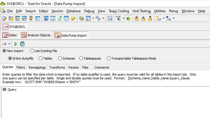 Data Pump Import Wizard