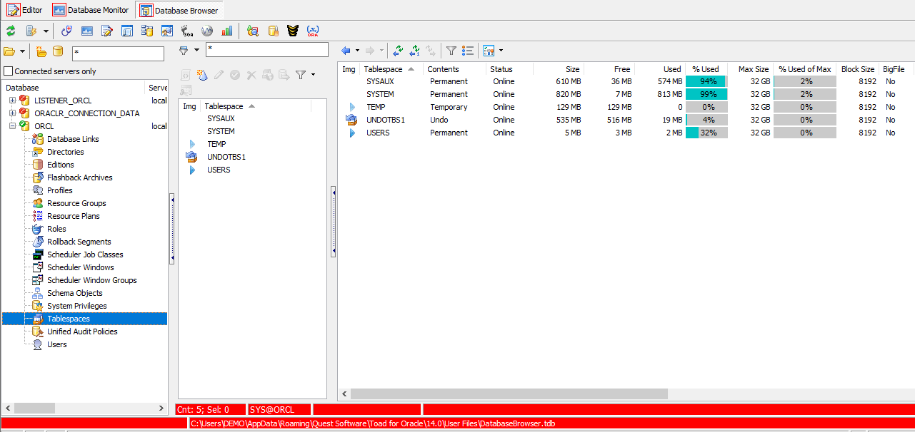 Toad for Oracle Database Browser Tablespace options