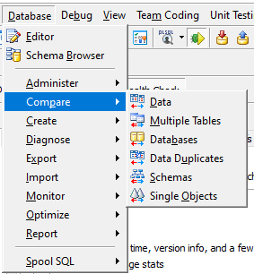 Toad for Oracle Compare features