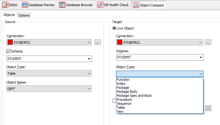 Toad for Oracle Object Compare options