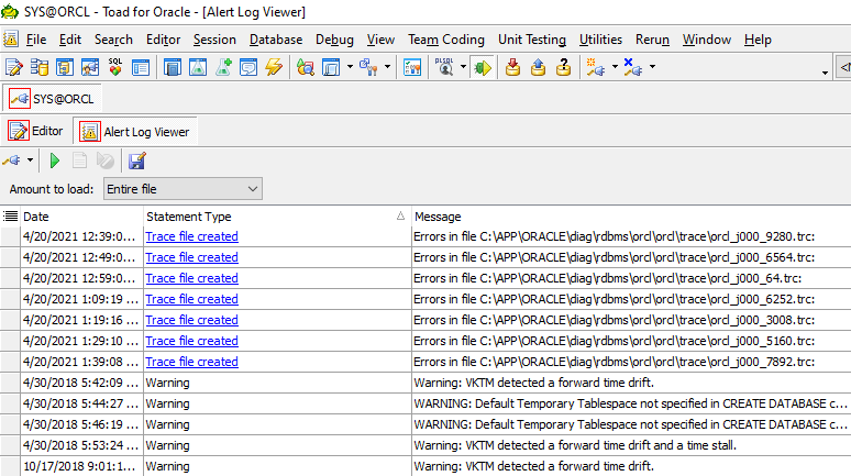 Toad for Oracle Alert Log Viewer by Statement Type