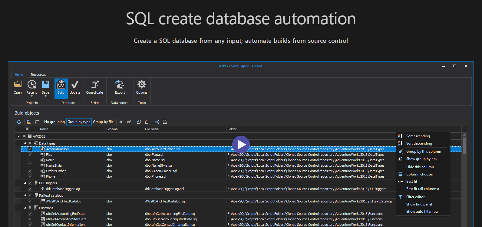 Watch an introduction video to ApexSQL Build..