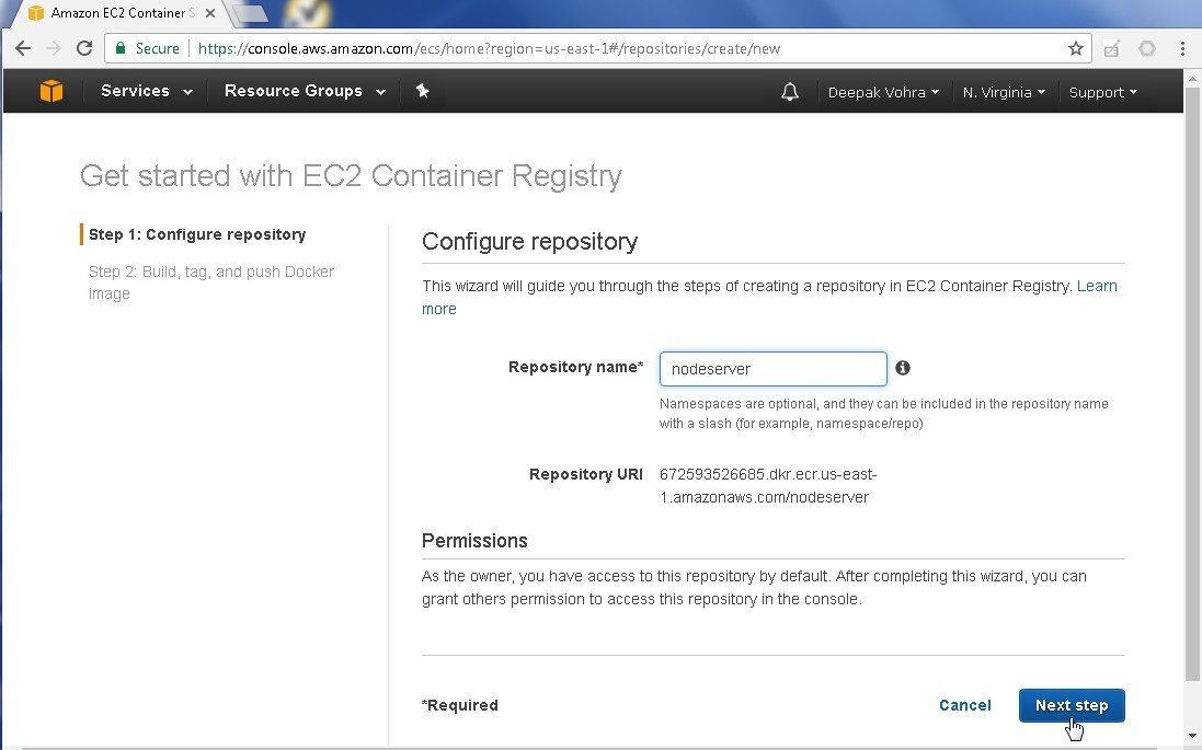 Continuous Integration from AWS Code Commit to Amazon ECR with AWS