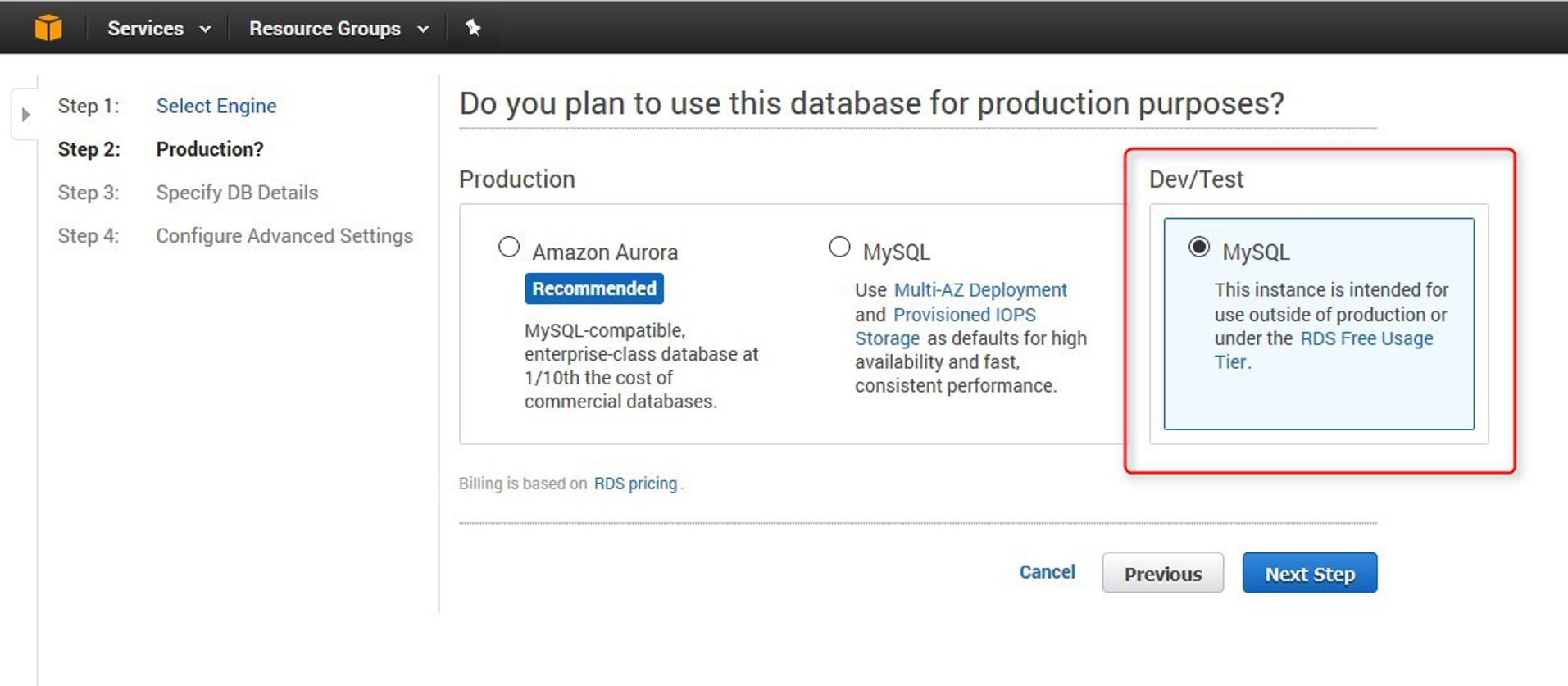 How to create an instance of a MySQL database in Amazon RDS