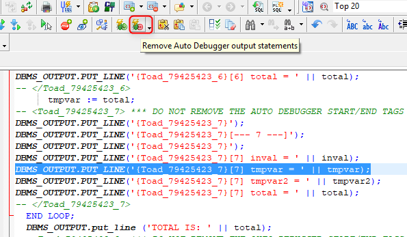 To disable the Auto Debugger and remove all the tags from our code, click on the Remove Auto Debugger output statements icon.