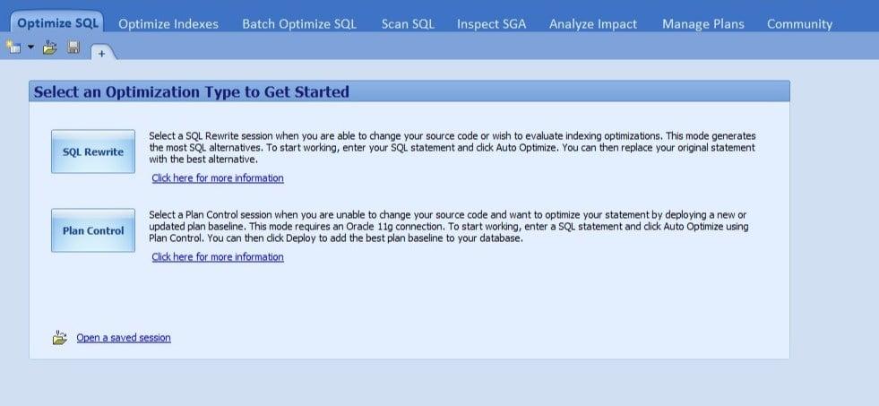 Figure 2. Optimize SQL tab