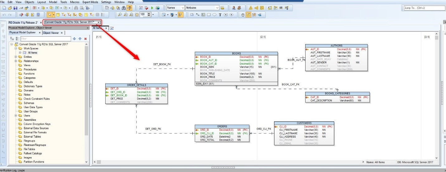 Figure 20. Showing the new data model generated for MS SQL Server 2017 database