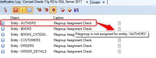 Figure 27. Verification log provides error information