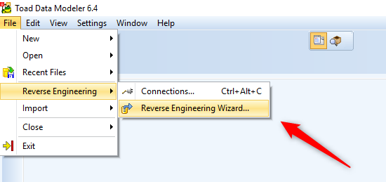 Figure 3. Selecting Reverse Engineering Wizard