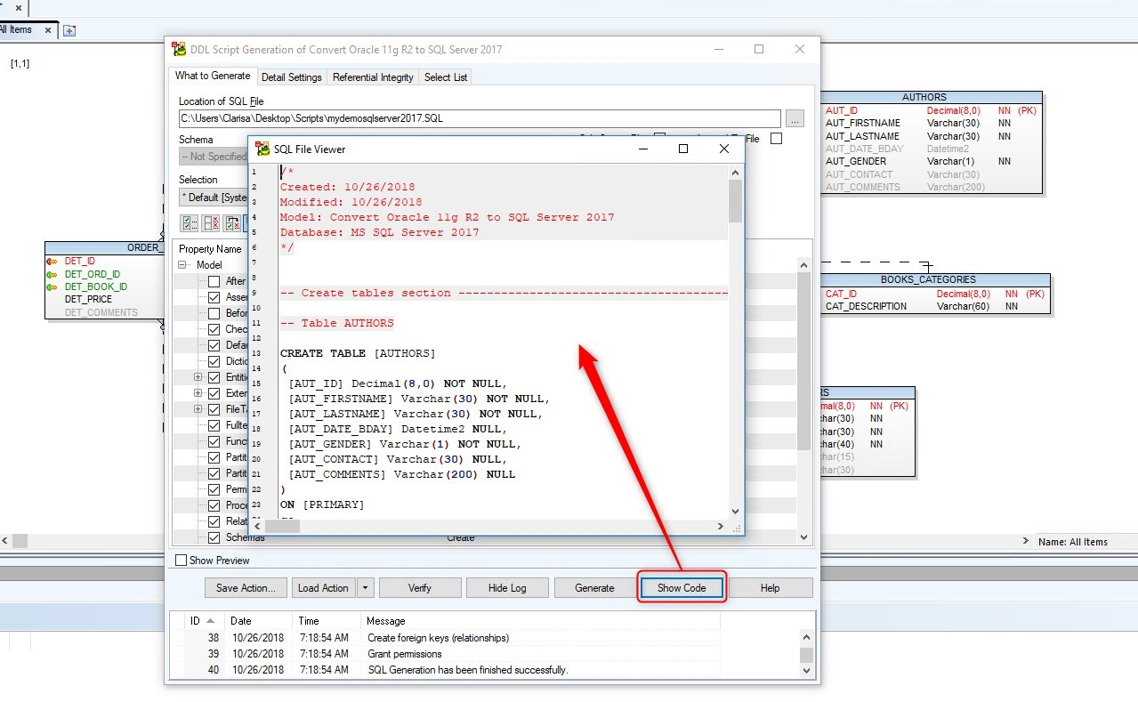 Figure 31. Clicking on the Show Code button brings up SQL File Viewer window