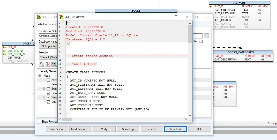 Figure 35. Generating the script for SQLite database