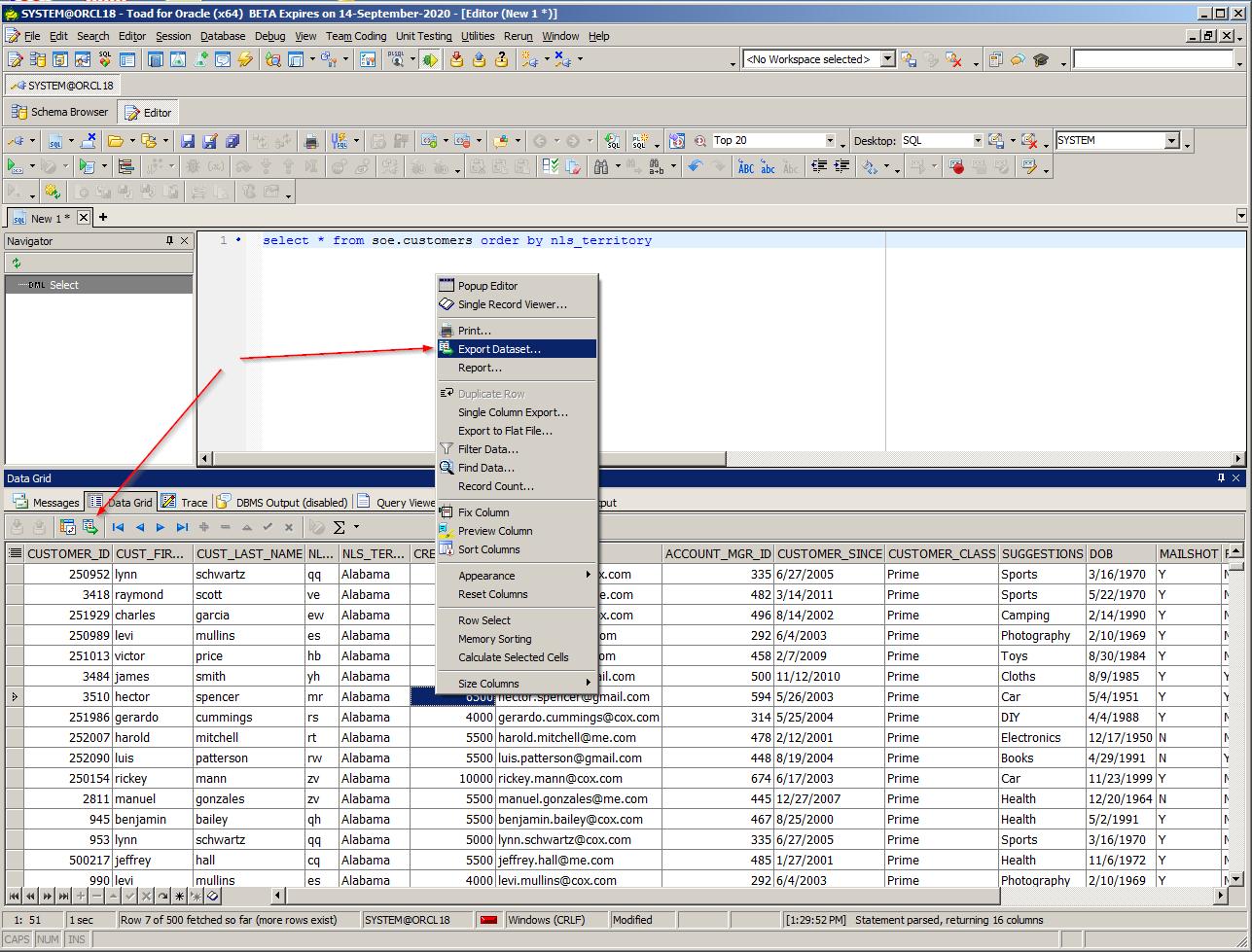 Invoke theExport Datasetwizard, then select the pop-up menu's Export Dataset option as shown below inFigure 2.