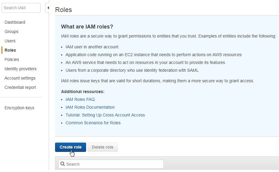 Figure 3. Creating a new IAM role