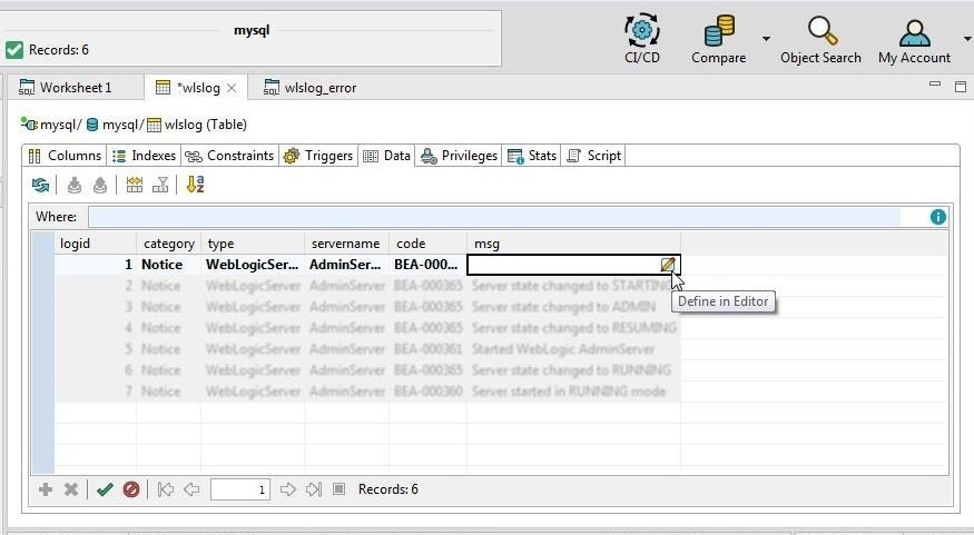 Figure 28. Selecting Define in Editor for msg