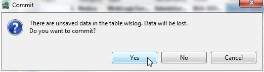 Figure 31. The Commit dialog. Click 'yes' to commit