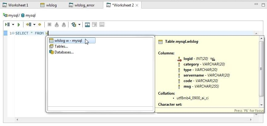 Figure 38. Selecting Table wlslog