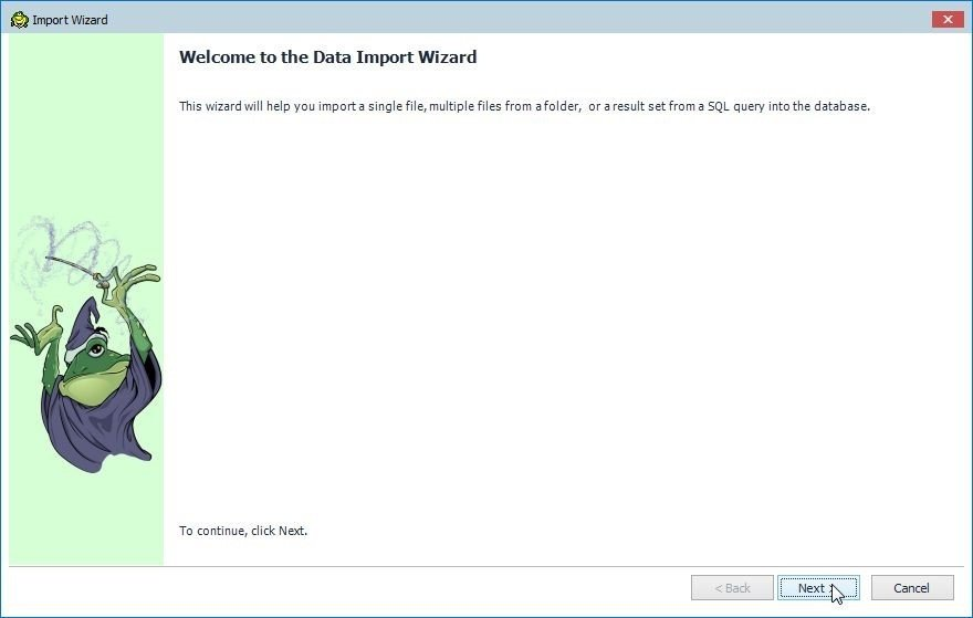 Figure 18. Import Wizard welcome screen