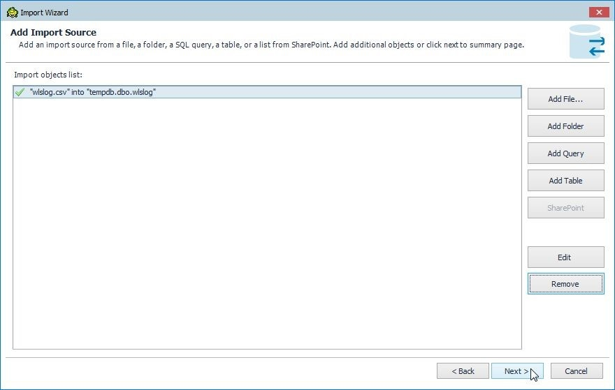 Figure 24. The import source file is added