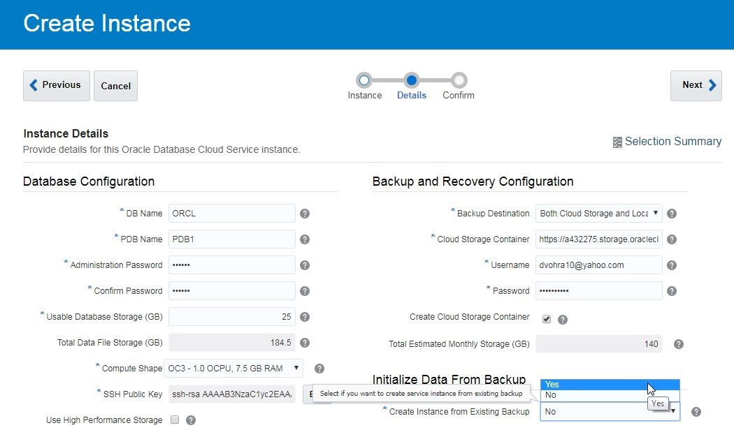 Figure 3. Setting Create Instance from Existing Backup to Yes