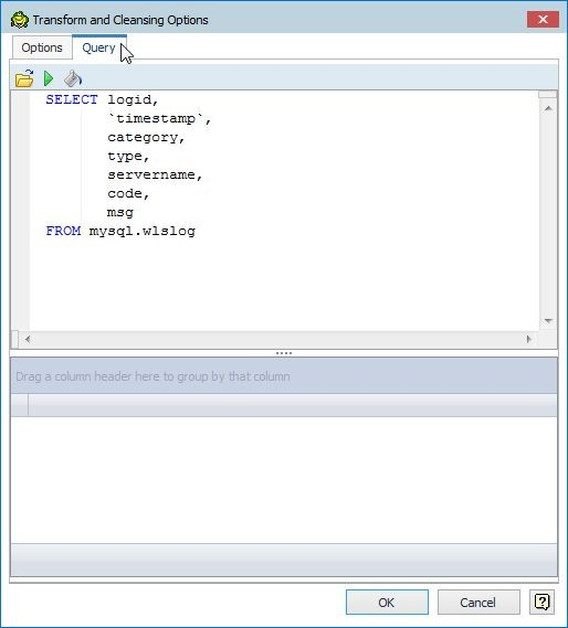 Figure 12. The Query tab displays the SQL query used.