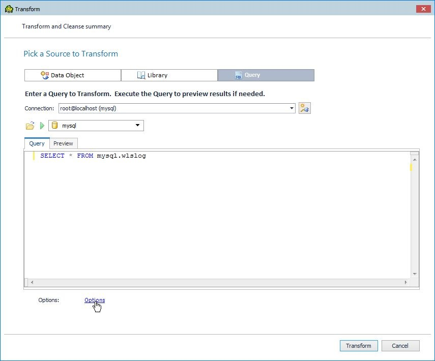 Figure 5. Clicking on Options to display the transformation options