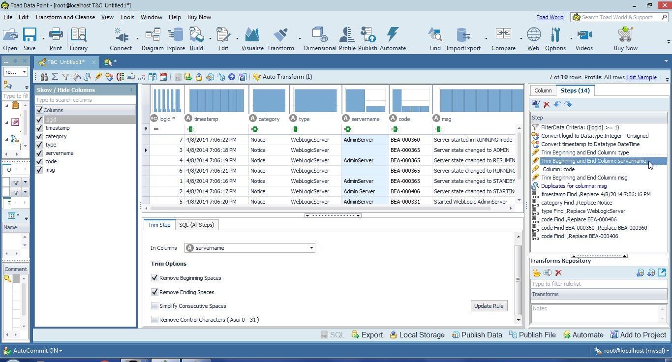 Figure 23. Selecting theTransformation Step to trim the servername column