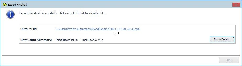 Figure 45. The Excel output filename is displayed as the Output File from the Export operation.