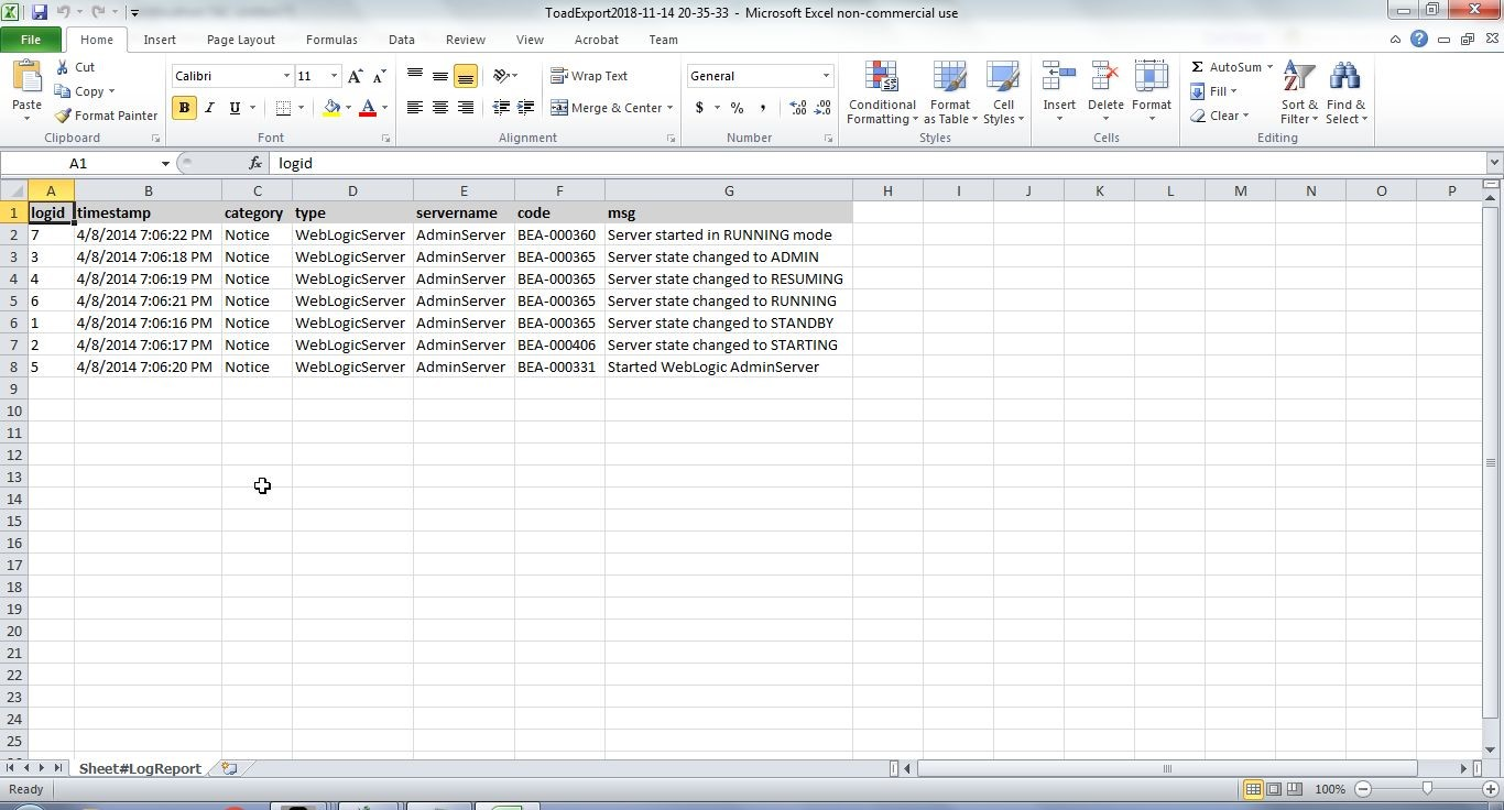 Figure 46. the Excel report