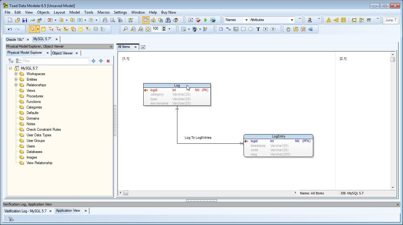 Figure 1. double-click in the header for Log to preview the DDL it would generate