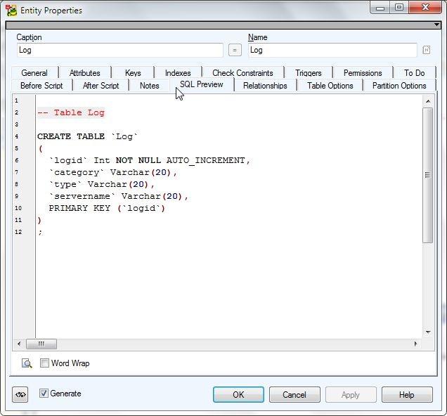 Figure 2. SQL Preview