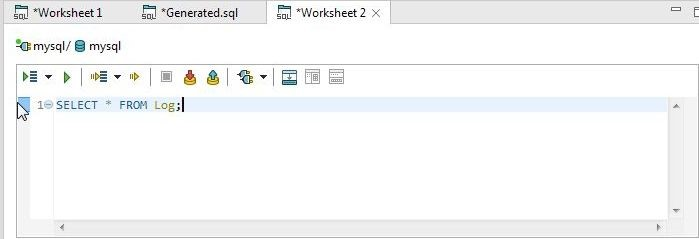 Figure 38. SQL SELECT Statement to Query Log table