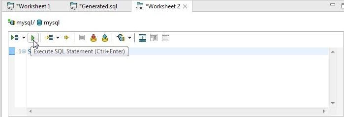 Figure 39. Clicking on Execute SQL Statement