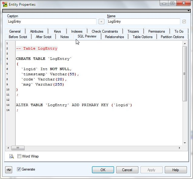 Figure 4. SQL Preview for LogEntry