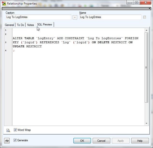 Figure 6. SQL Preview for Relationship