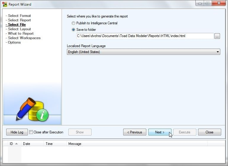 Figure 33. Indicating what folder to save the report file to