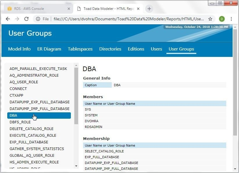 Figure 45. Detailed information about the DBA user group