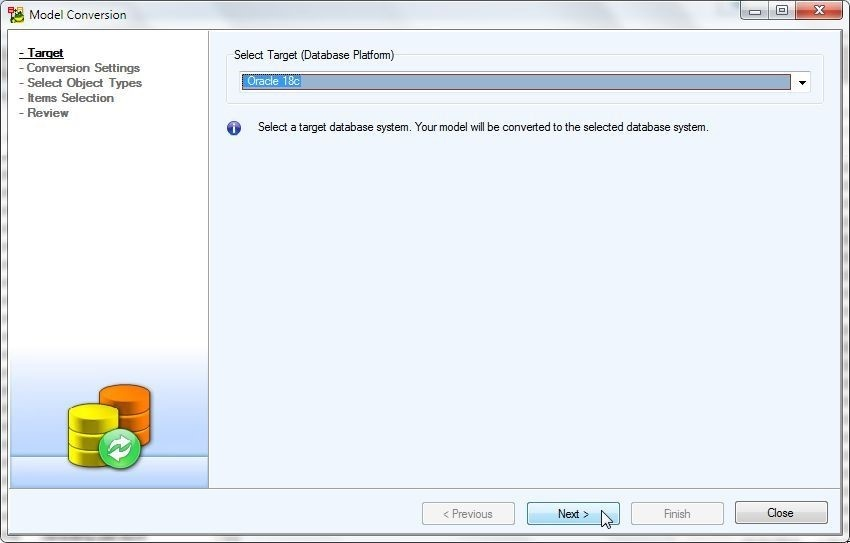 Figure 49. Selecting Oracle 18c as Target Database Platform