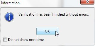 Figure 58. Information Dialog. Verification complete without errors. Click OK