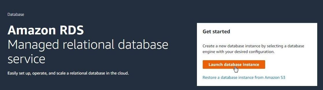 Figure 1. Clicking on Launch Database Instance, Amazon RDS