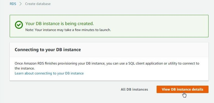 Figure 11 The DB instance is being created