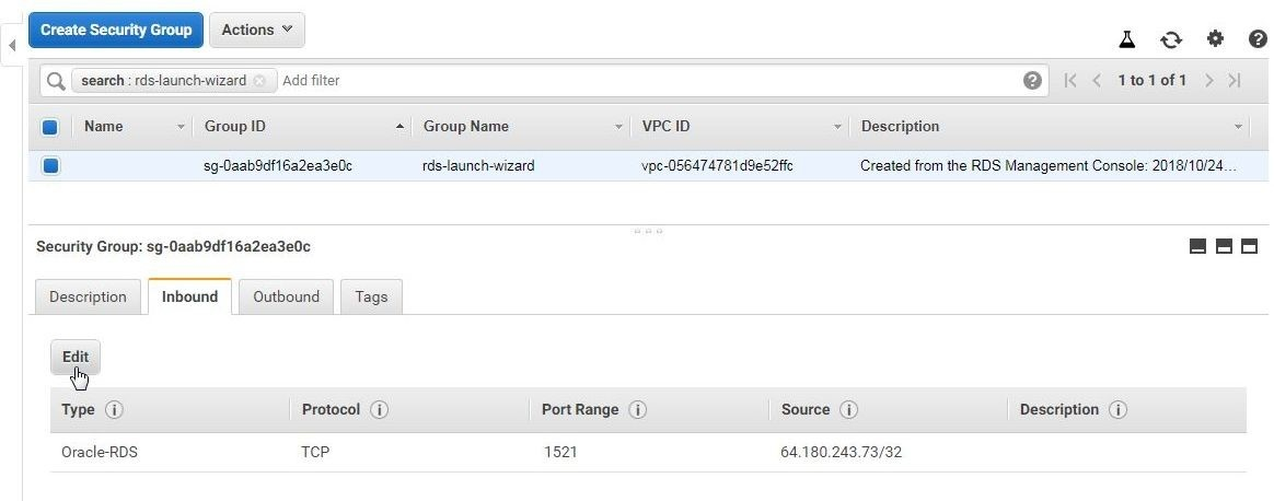 Figure 16. Clicking on Edit in the Inbound tab of the security group