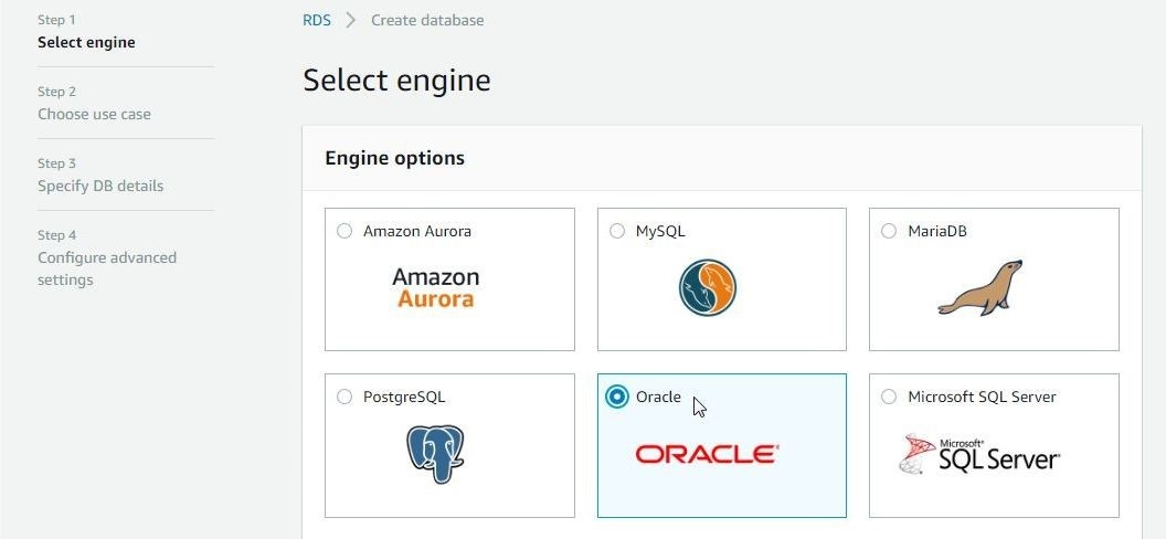 Figure 2. Selecting Oracle as the database engine.