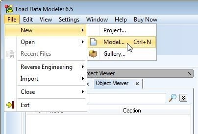 Figure 20. Selecting File, then New, then Model in Toad Data Point menus