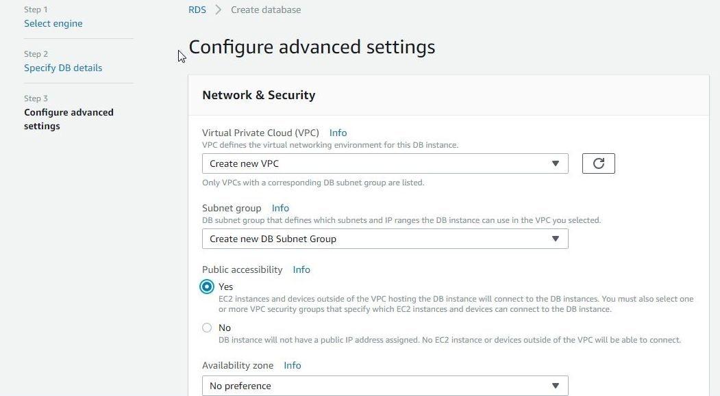 Figure 7. Selecting network settings