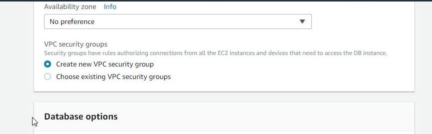 Figure 8. Setting Availability Zone and VPC Security Group