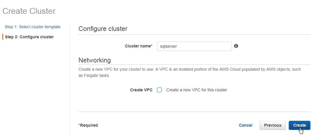 Figure 14, clicking on Create Cluster