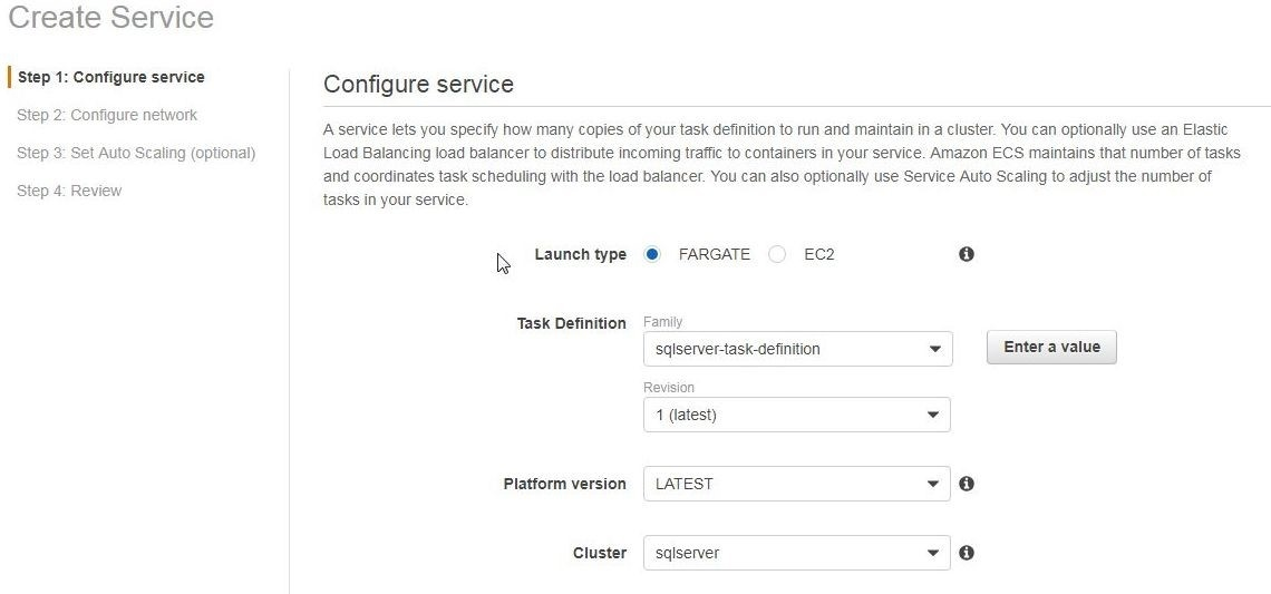 Figure 17, Configure service page is displayed