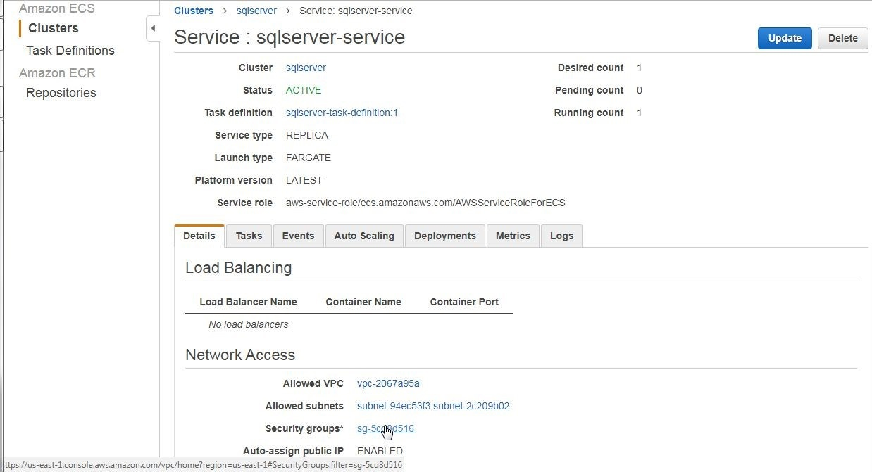 Figure 28. Clicking on the Security group link on the service detail page to allow TCP access